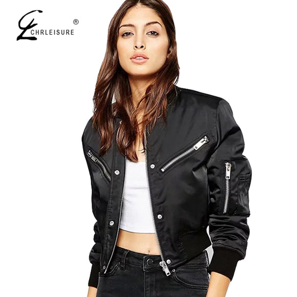 Bomber Jacket Long Sleeve Zipper Short Jackets 3 Colors