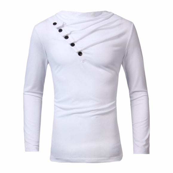 Men Long Sleeve Casual Oblique Fashion Tops Slim Fit Tees