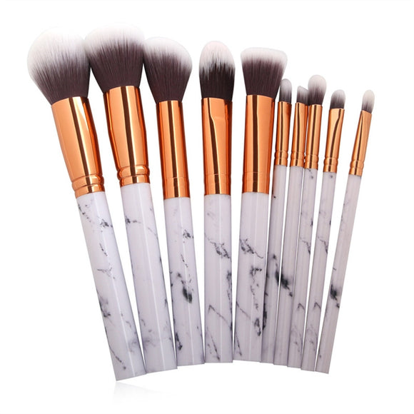 10Pcs Marble Make Up Brushes Super Soft Hair