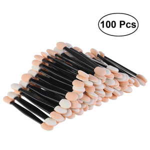100pcs Disposable Dual Sided Eyeshadow Brush Sponge Oval Makeup Applicator