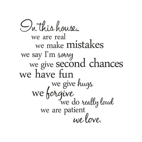 English Proverb On This House Decals Wall Lettering Quotes Wall Stickers