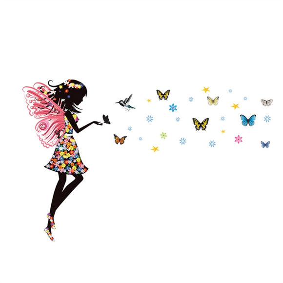Angel Wings Beautiful Girl Flowers Butterfly DIY Wall Stickers Removable Background Decals