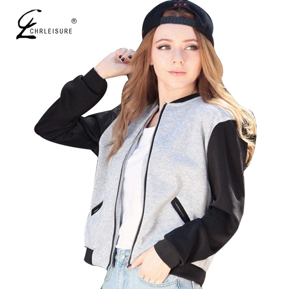 Baseball Jacket Long Sleeve Zipper Basic Coat