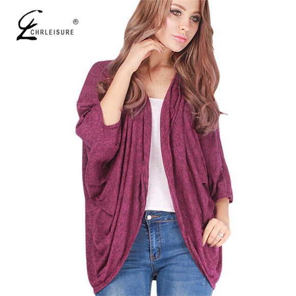 Batwing Sleeve Coat Causal Loose Open Stitch Solid Cloak Jacket