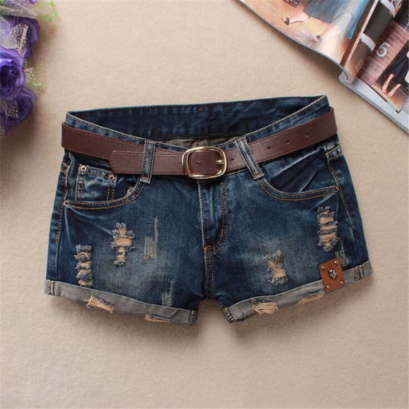 high waist jeans shorts fashion Straight Thin ripped jeans