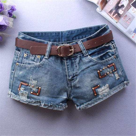 high waist jeans fashion hole Cat Tassels Thin All-match ripped jean shorts