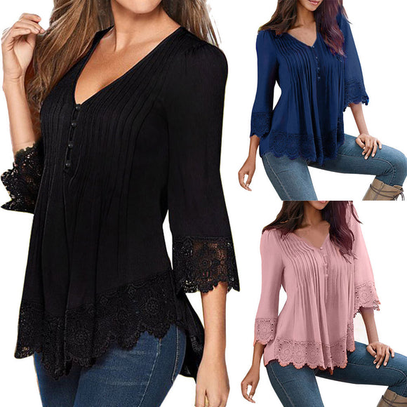Fashion Women Lace V Neck T-Shirt Casual Loose Tops Blouse Shirts