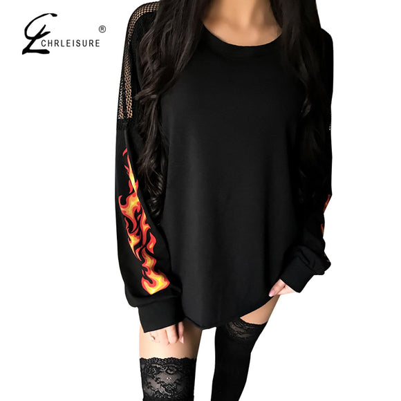 Print Mesh Patchwork T shirt Long Sleeve O-Neck Backless Tops