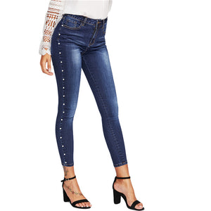 Skinny Pearl Beading Faded Wash Jeans Blue Mid Waist Zipper Fly Plain Denim Jeans