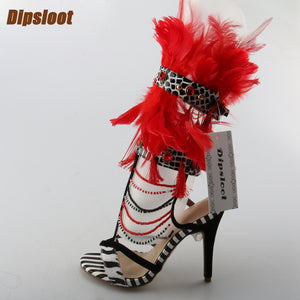 Mixed Colors Open Toe Sandals Red Feather High Heels Ankle Buckles Shoes