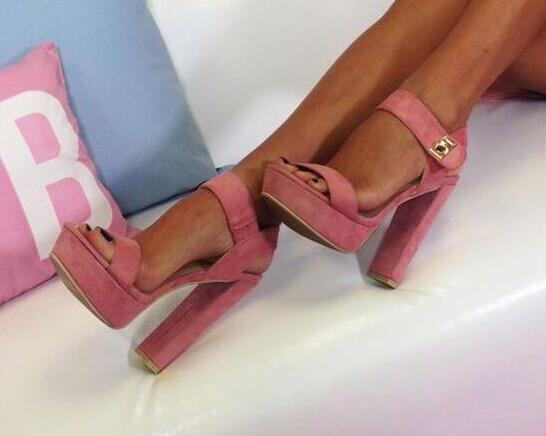 Suede Leather Chunky Heel Sandals High Platform Ankle Strap High Heels Shoes