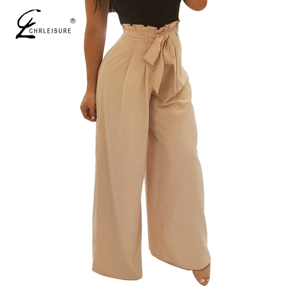 Ruffle Harem Pants High Waist Wide Leg Loose Pants with Belt 5 Colors