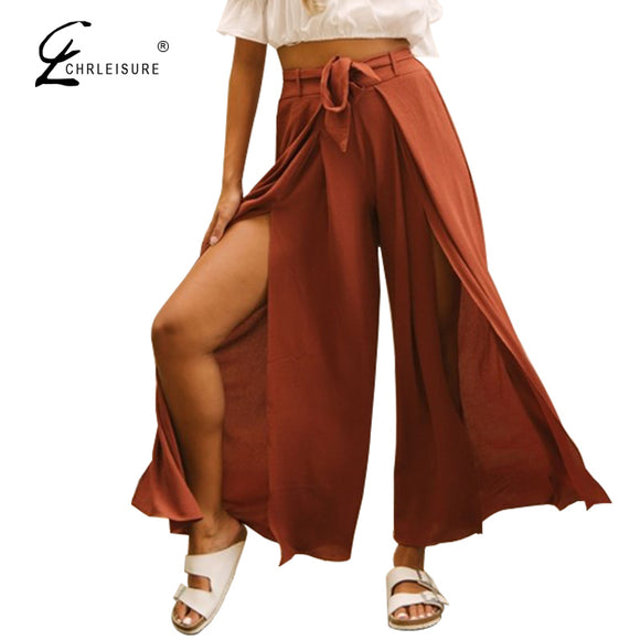Side Split Wide Leg Pants High Waist Harem Pants