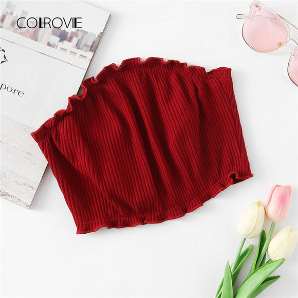 Frill Trim Ribbed Bandeau Top Slim Fit Solid Burgundy Strapless Crop Top