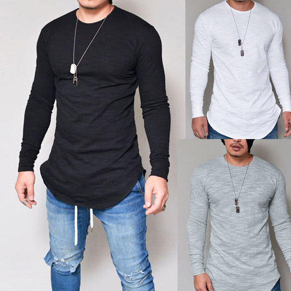 Men Slim Fit O Neck Long Sleeve T-shirt Casual