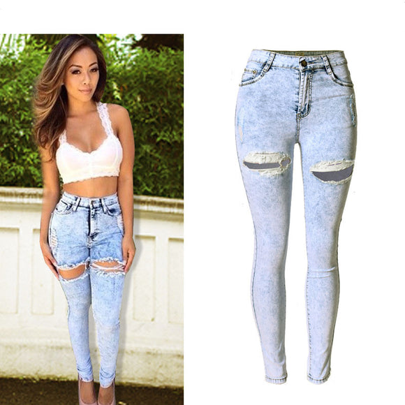 High Waist Jeans Skinny Pencil Pants Slim Denim Stretchable Full-Length Sky White Ripped Jeans