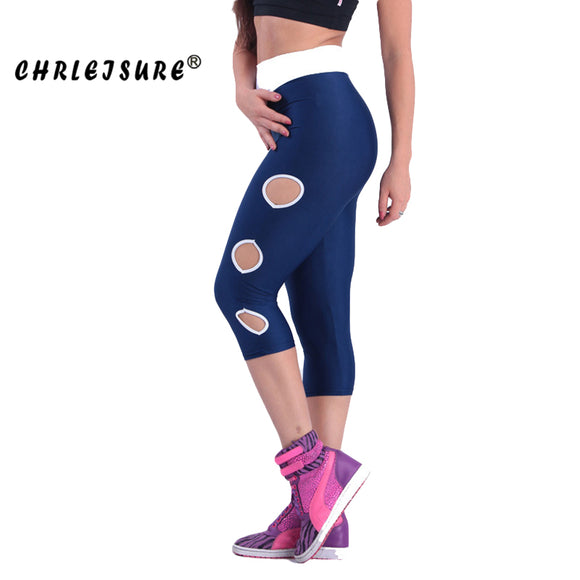 Hollow Leggings Polyester Mid-calf Stitching Quick dry Push UP Fitness legging