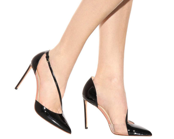 Black Patent Leather Clear PVC Pumps Thin Leather Buckle High Heels Stiletto