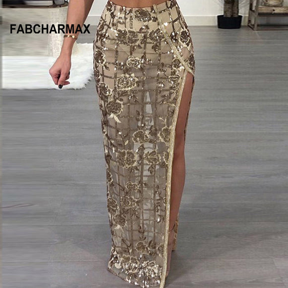 embroidery sequins skirt high split long skirts silver gold sequin mesh slit