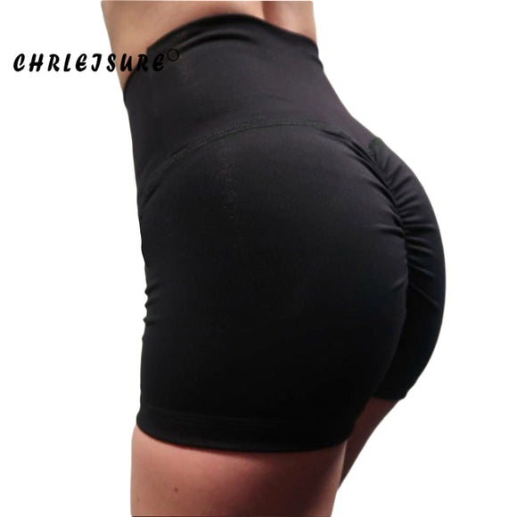 High Waist Shorts Solid Folds Breathable Push Up Work Out Shorts