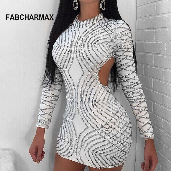 backless long sleeve geometric sequin bodycon short dress