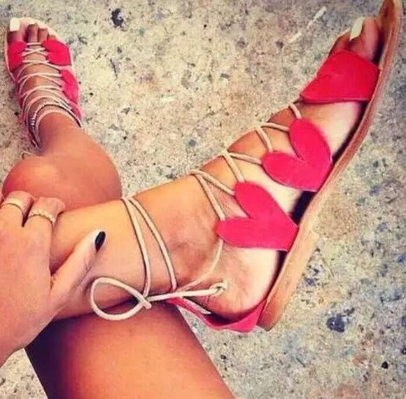 Red/Black Suede Leather Heart Shape Lace Up Sandals Open Toe Gladiator Flat Sandal