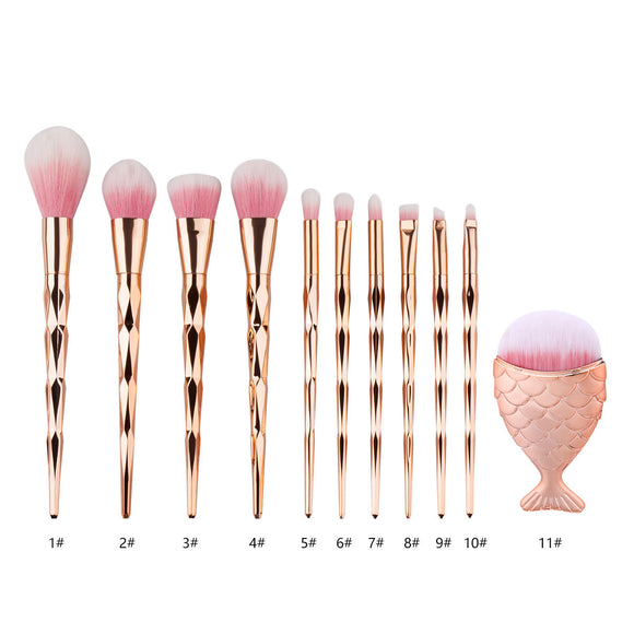 1Pcs Diamond Makeup Brush Set Big Fish Tail Brushes