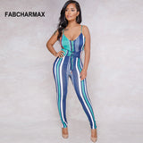 multicolored striped jumpsuit digital print Jumpsuit