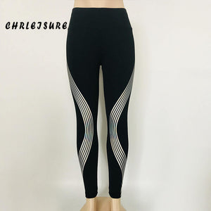 Black Leggings Ankle-Length Glowing Stripe Push Up Fitness Legging