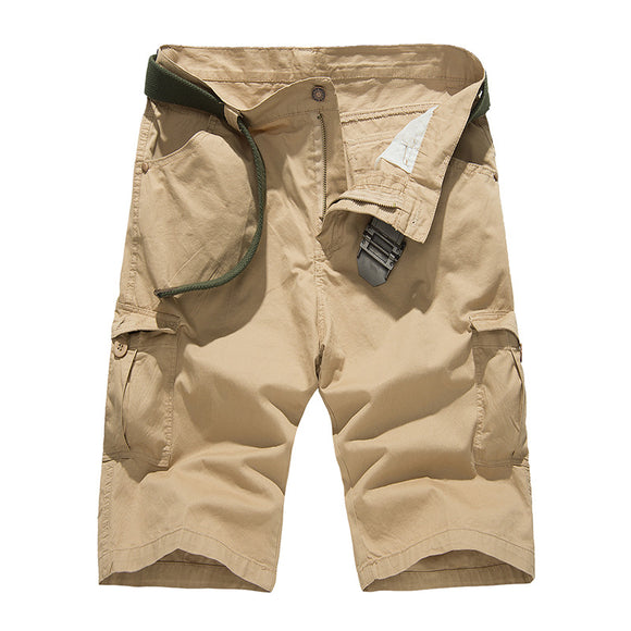 Knee-Length Casual Cargo Multi-Pockets Loose Cotton Casual Shorts