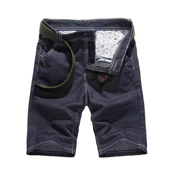 Casual Slim Denim Knee-Length Solid Straight Shorts