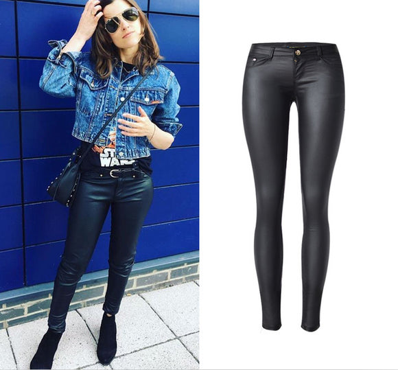 Coated Low-Waist Stretch PU Leather Full Length Skinny Pencil Black Pants