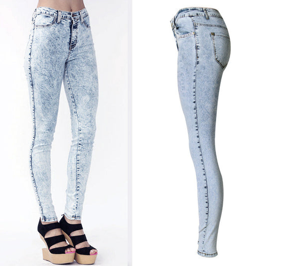 Sky Blue Jeans Mid-Waist Stretchable Slim Skinny Pencil Pants Full-Length Jeans