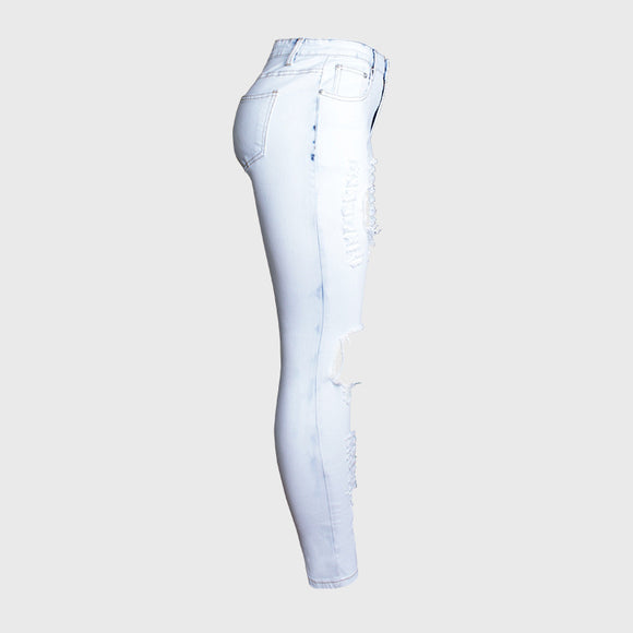 Ripped Hole Denim High-Waist Jeans Skinny Pencil Pants Full-Length Blue White Jeans