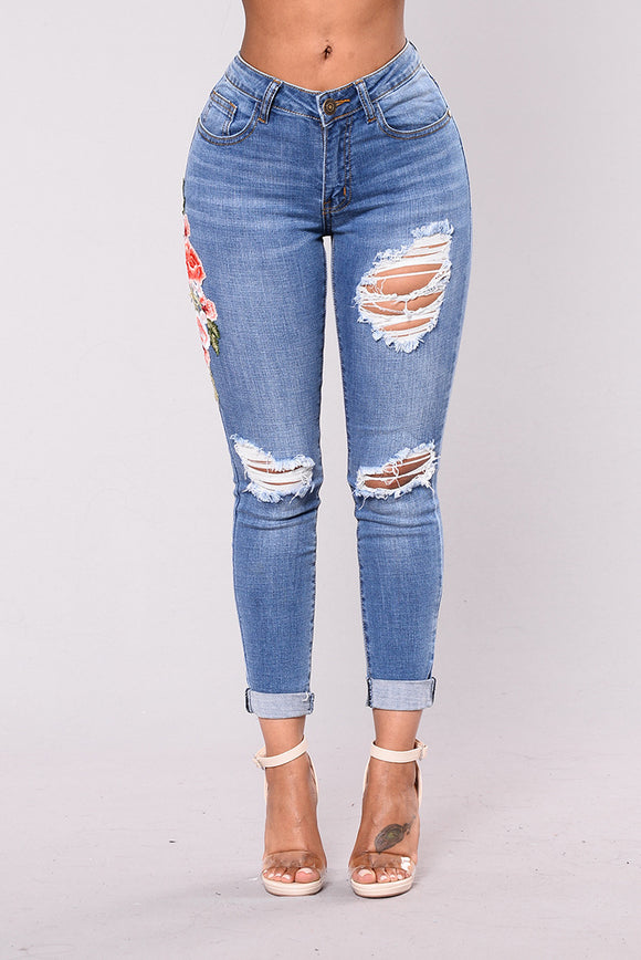 High-Waist Jeans Ripped Skinny Pencil Pants Floral Embroidered Denim Boyfriend Jeans