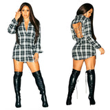 Backless Metal Chain Bodycon Deep V-Neck Short Plaid Long Sleeve Hollow Dress