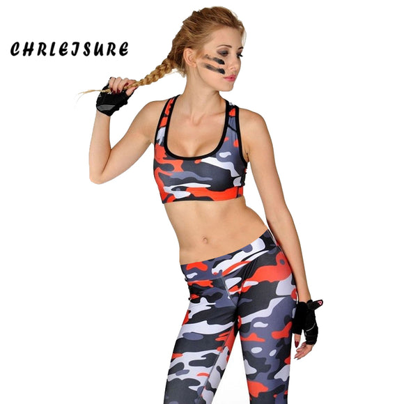 Round Neck Crop Top Push Up Leggings Camouflage Two-piece Fitness Sets