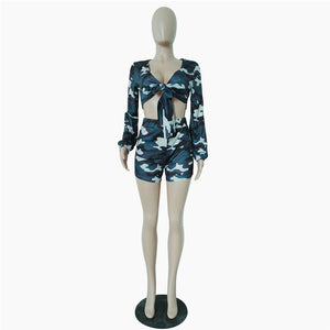 camo two-piece  outfit camouflage long sleeve front tie crop top and shorts