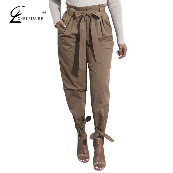 Solid Color Harem Pants High Waist Lace Up Bow Loose Pants 5 Colors