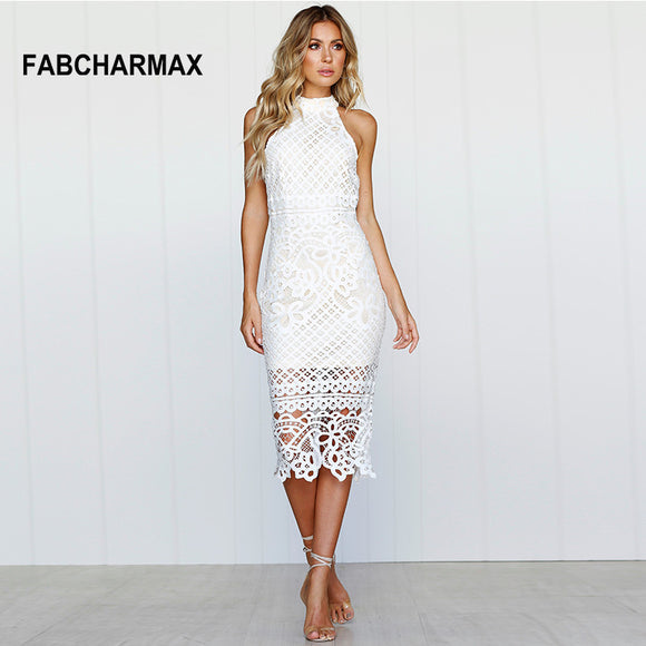 crochet hollow out white lace midi dress cut-out sleeveless dress