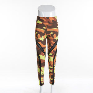 Camouflage Printed Leggings Fitness Mesh Patchwork High Waist Leggings
