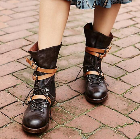 Dark Brown Leather Round Toe Ankle Boots Ankle Buckles Lace Up Martin Boots Low Square Heel Boots