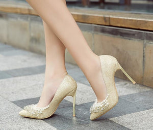 Silver/Gold Glitter Slip On Pumps Pearl Fringe Pointy Toe High Heels Bling Shoes