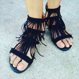 Thin Fringe Straps Open Toe Sandals Cut Out Flat Zipper Back Gladiator Sandals