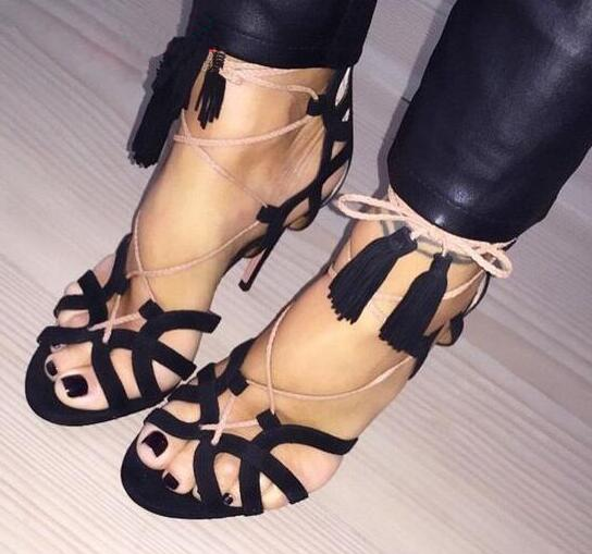 Suede Leather Peep Toe Sandals Cutout Lace Up High Heels Ankle Fringe Bandage Shoes