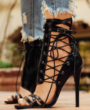 Leather Straps Open Toe Lace Up Side Sandal Cut Out High Heel Ankle Buckle Stiletto