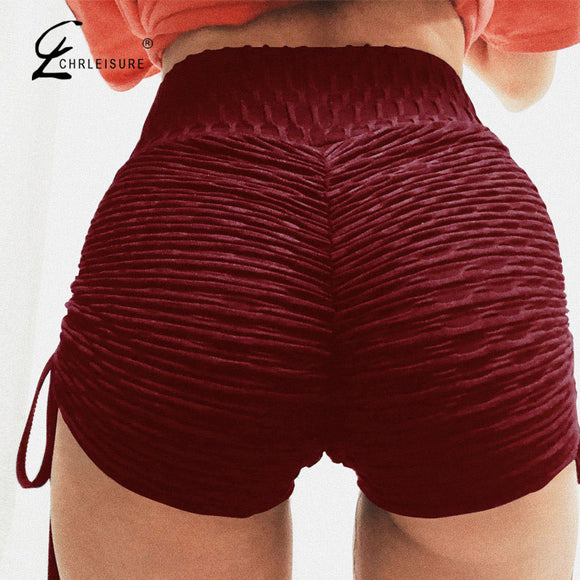 High Waist Shorts Push Up Workout Solid Lace Up Shorts Multiple Colors