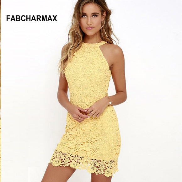 6 colors hollow out floral crochet lace dresses sleeveless dresses
