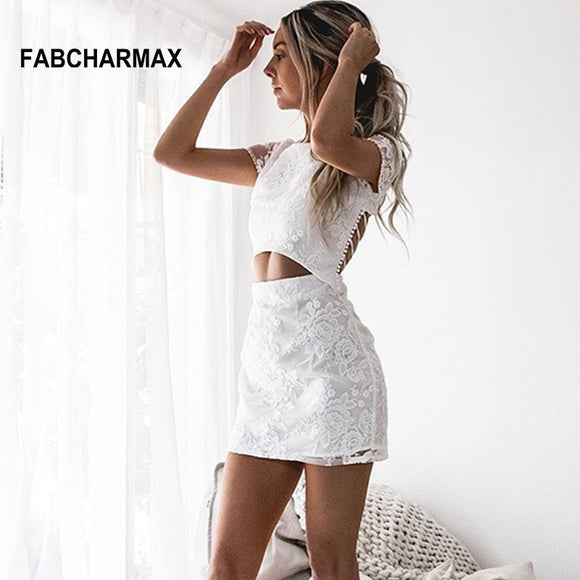 two piece embroidery floral white lace backless lace up round neck short dress