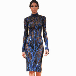 blue sequin dress high neck long sleeve mesh dress